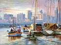 Tel Aviv Port, Israel - Israeli Landscape Fine art Giclee print on canvas